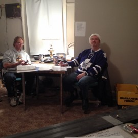 Kinsmen Gary Davidson and Brent Timm working the phones at Thursday Night TV Bingo